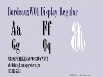 BordeauxW01-Display Regular Version 1.1 Font Sample