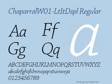 ChaparralW01-LtItDspl Regular Version 1.00 Font Sample