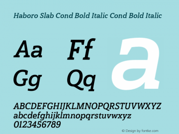 Haboro Slab Cond Bold Italic Cond Bold Italic Version 1.000 Font Sample