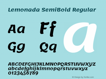 Lemonada SemiBold Regular Version 3.006图片样张