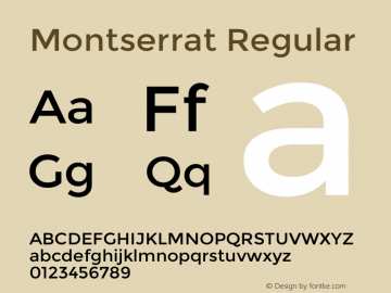 Montserrat Regular Version 2.001 Font Sample