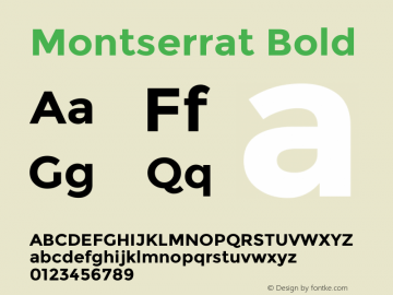 Montserrat Bold Version 2.001 Font Sample