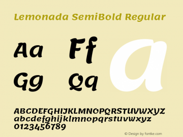Lemonada SemiBold Regular Version 3.006;PS 003.006;hotconv 1.0.88;makeotf.lib2.5.64775图片样张