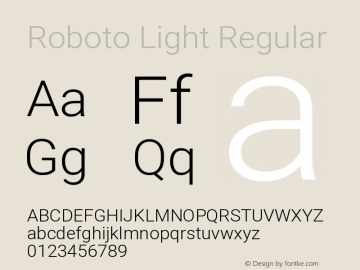 Roboto Light Regular Version 2.133图片样张