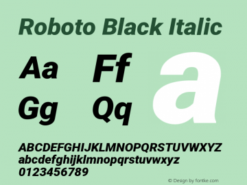 Roboto Black Italic Version 2.133图片样张