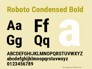 Roboto Condensed Bold Version 2.133 Font Sample