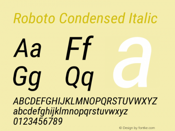 Roboto Condensed Italic Version 2.133 Font Sample