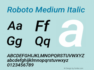 Roboto Medium Italic Version 2.133; 2016图片样张