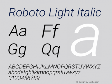Roboto Light Italic Version 2.133; 2016图片样张