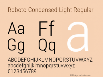 Roboto Condensed Light Regular Version 2.133; 2016图片样张