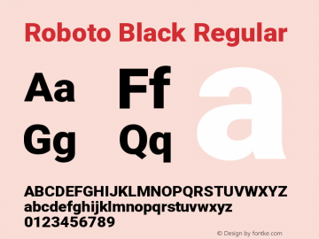 Roboto Black Regular Version 2.133; 2016图片样张