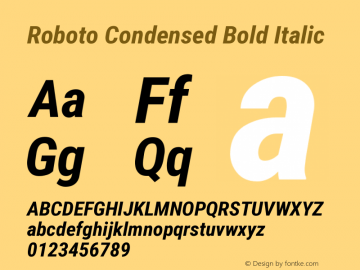 Roboto Condensed Bold Italic Version 2.133; 2016 Font Sample