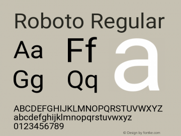 Roboto Regular Version 2.133; 2016 Font Sample