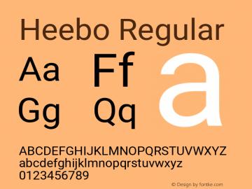 Heebo Regular Version 2.002;PS 002.002;hotconv 1.0.88;makeotf.lib2.5.64775 Font Sample