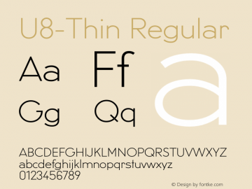 U8-Thin Regular 002.000 Font Sample