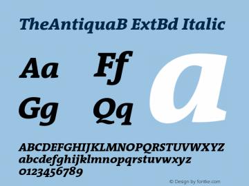 TheAntiquaB ExtBd Italic 001.000 Font Sample