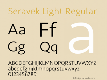Seravek Light Regular 9.0d3e1 Font Sample