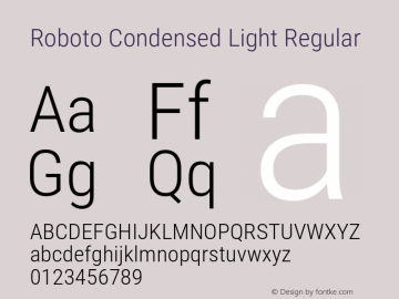 Roboto Condensed Light Regular Version 2.134; 2016图片样张