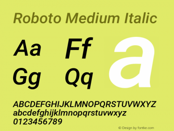 Roboto Medium Italic Version 2.134; 2016图片样张