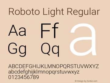 Roboto Light Regular Version 2.134图片样张
