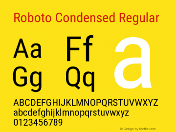 Roboto Condensed Regular Version 2.134 Font Sample
