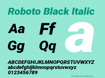 Roboto Black Italic Version 2.134图片样张