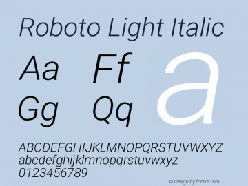 Roboto Light Italic Version 2.134; 2016图片样张
