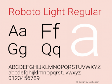 Roboto Light Regular Version 2.134; 2016图片样张