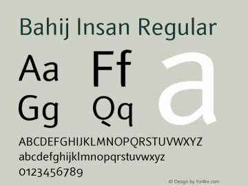 Bahij Insan Regular Version 1.00 September 29, 2013, initial release Font Sample