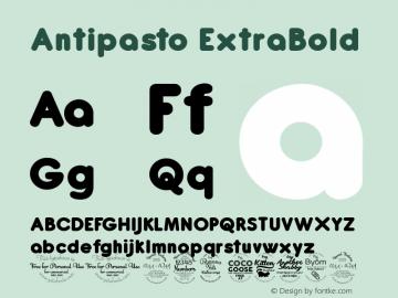 Antipasto ExtraBold Version 2.008 Font Sample