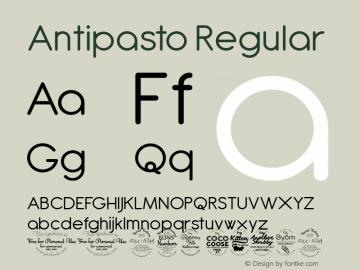 Antipasto Regular Version 2.008 Font Sample