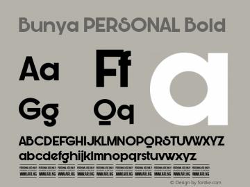Bunya PERSONAL Bold Version 1.000 Font Sample