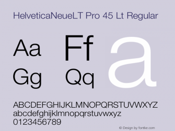HelveticaNeueLT Pro 45 Lt Regular Version 1.000;PS 001.000;Core 1.0.38 Font Sample
