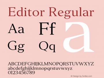 Editor Regular Version 1.0 Font Sample