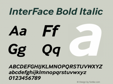 InterFace Bold Italic Version 2.000图片样张