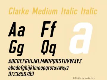 Clarke Medium Italic Italic Version 6.3 Font Sample