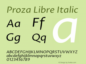 Proza Libre Italic Version 1.000; ttfautohint (v1.4.1.8-43bc) Font Sample
