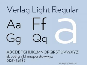 Verlag Light Regular Version 1.210 Font Sample