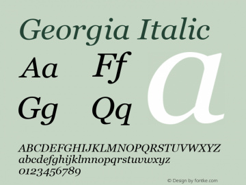 Georgia Italic Version 5.58图片样张