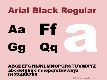 Arial Black Regular Version 5.22图片样张