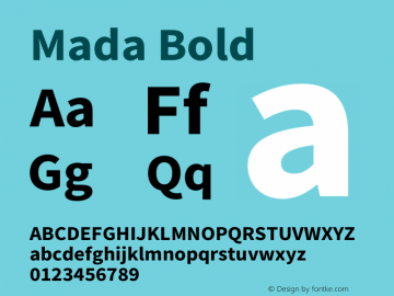 Mada Bold Version 1.002 Font Sample