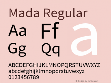 Mada Regular Version 1.002 Font Sample