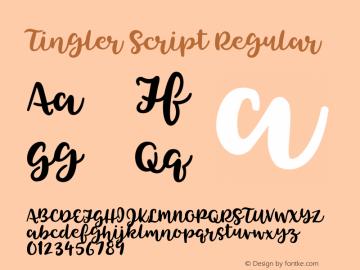 Tingler Script Regular Version 1.000 Font Sample