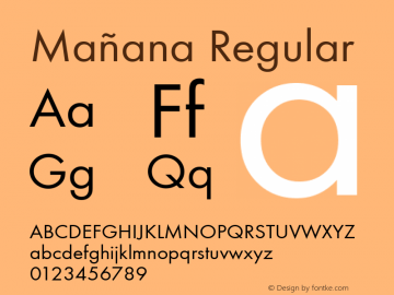Mañana Regular Version 001.005 Font Sample