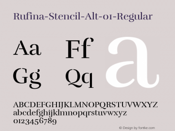Rufina-Stencil-Alt-01-Regular ☞ Version 1.001;com.myfonts.easy.tipotype.rufina-stencil.alt-01-regular.wfkit2.version.4BCu Font Sample