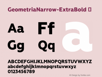 GeometriaNarrow-ExtraBold ☞ Version 1.000;com.myfonts.easy.brownfox.geometria-narrow.exbold.wfkit2.version.4BZu Font Sample
