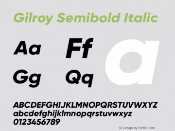 Gilroy Semibold Italic Version 1.000 Font Sample