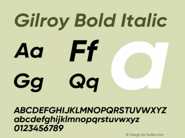 Gilroy Bold Italic Version 1.000 Font Sample