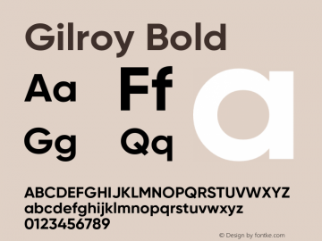 Gilroy Bold Version 1.000 Font Sample