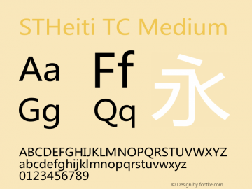 STHeiti TC Medium 5.0d2e1 Font Sample